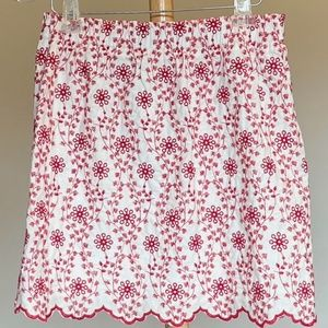 Red and White Floral Embroidered Skirt Sz L